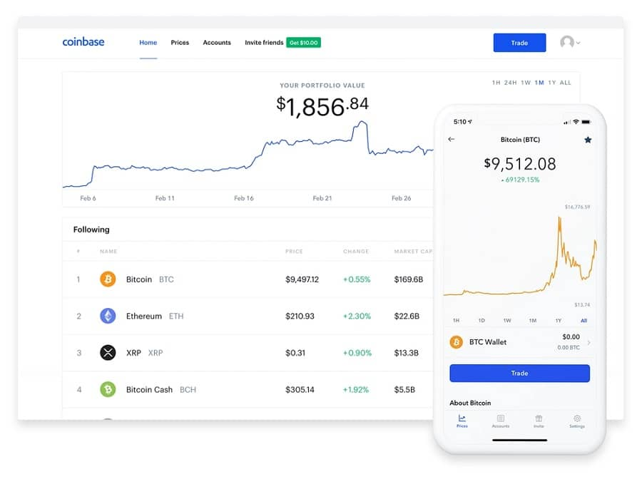 Coinbase - applications de crypto-monnaie