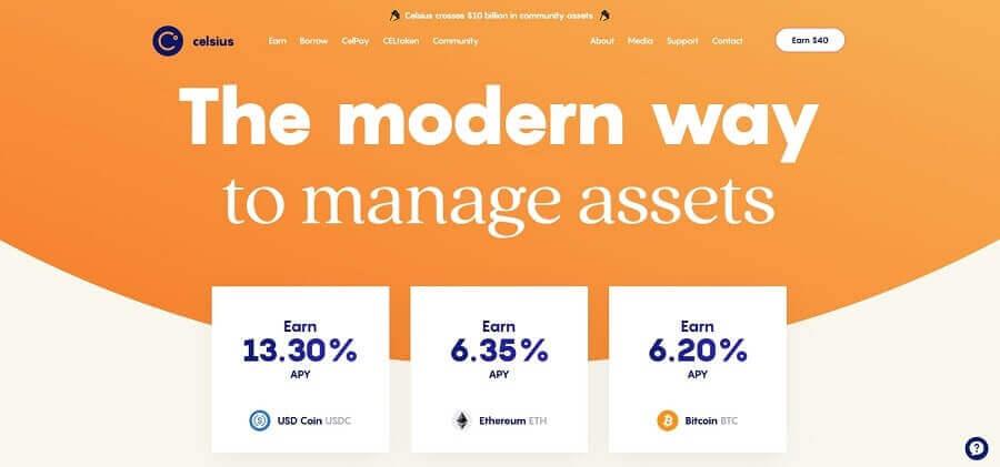 Celsius Network - intérêt bitcoin